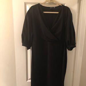 Black Off the Shoulder Wrap Dress